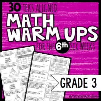 3rd Grade Math Warm Ups: 6th Six Weeks (TEKS Based)