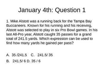 Math Warm Ups: Question of the Day test prep for 6th and 7