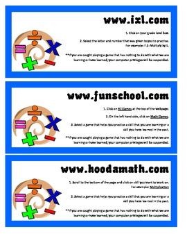 Math Website Link Cards