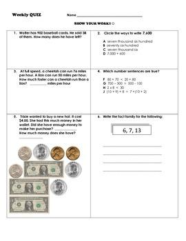 Math Weekly Skills Quiz for Third Grade