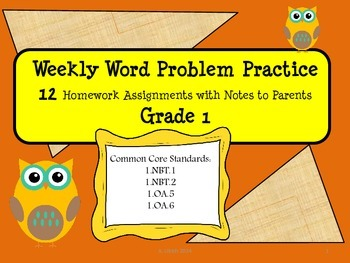 Math Weekly Word Problems Homework with Parent Note Grade
