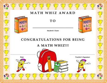 Math Whiz Award Certificate- Kids Will Love It!!