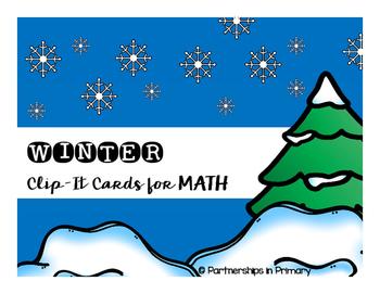 Math Winter Clip-it Cards