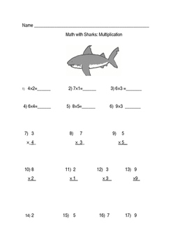 Math With Sharks Multiplication