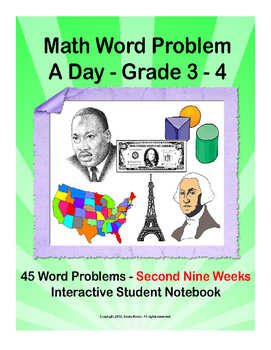 Math Word Problem A Day. ISN for 3rd 4th grades. Second Ni