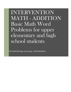 Math Word Problems Intervention: Addition Without Carrying