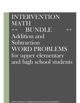 Math Word Problems Intervention: BUNDLE/Addition and Subtraction