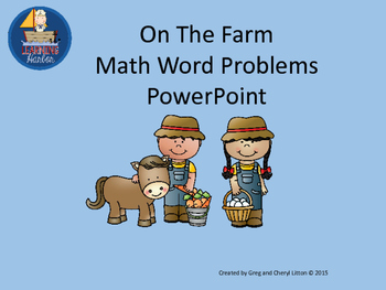 Math Word Problems Farm Theme 1st, 2nd, and 3rd Grade