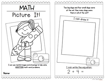 Math Word Problems {Picture It Booklets!} First Grade and