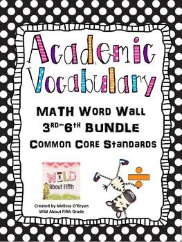 Math Word Wall 3rd-6th BUNDLE Common Core - Polka Dots Bla