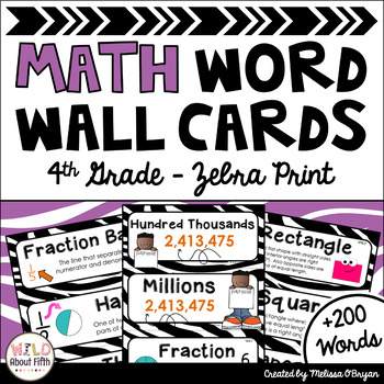 Math Word Wall Cards (4th Grade - Zebra)