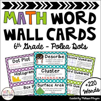 Math Word Wall Cards (6th Grade - Polka Dots)