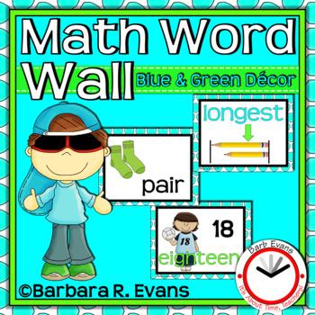 MATH WORD WALL: Blue & Green Edition