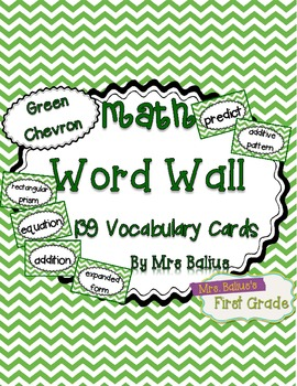 Math Word Wall {Green Chevron} 139 Vocabulary Words