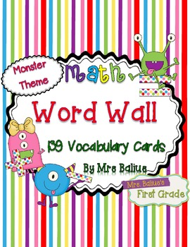 Math Word Wall {Monster Theme} 139 Vocabulary Words