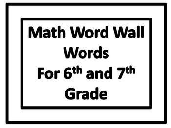 Math Word Wall Words In Plain Border