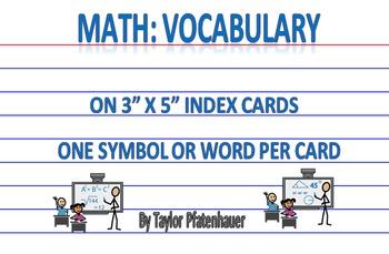 Math Words 3x5 Cards