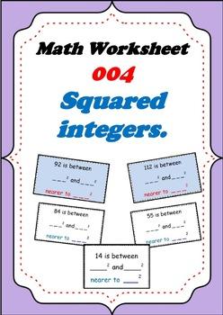 Math Worksheet 004 - Consecutive squared integers workshee