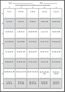 Math Worksheet 0050 - Find the highest common factor