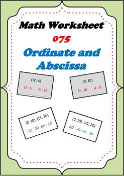 Math Worksheet 075 - Ordinate and Abscissa