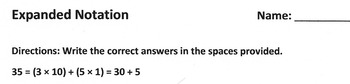 Math Worksheet: EXPANDED NOTATION Practice Page or Quiz -