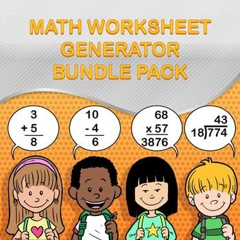 Math Worksheet Maker / Generator Bundle Pack - Make Infini