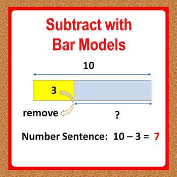Subtraction using Bar Models, 1st Grade Math Worksheets -
