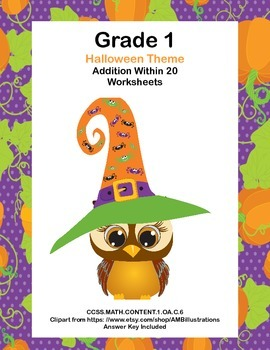 Math Worksheets Addition to 20 Practice -Halloween -CCSS.M