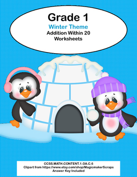 Math Worksheets Addition to 20 Practice -Winter -CCSS.MATH