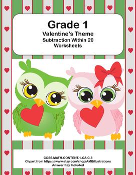 Math Worksheets-Subtraction -CCSS.MATH.CONTENT.1.OA.C.6-Va