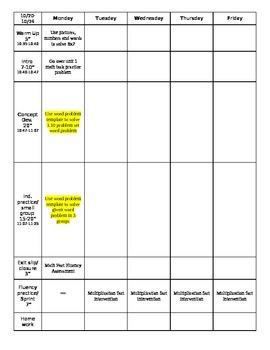 Math Workshop Planning Sheet