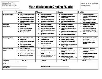Math Workstation Grading Rubric
