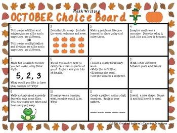 Math Writing Choice Board (October)