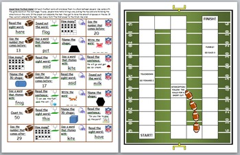 Math and Literacy Skills Football Board Game