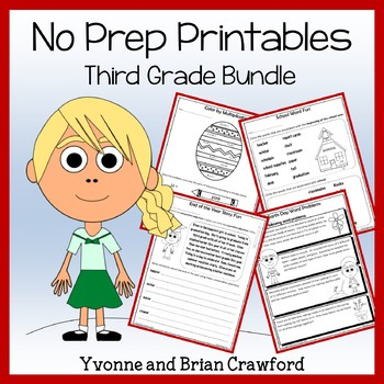 Math and Literacy NO PREP Printables Bundle - 3rd Grade Co