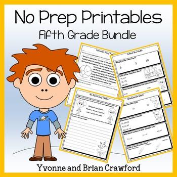 Math and Literacy NO PREP Printables Bundle - 5th Grade Co