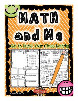 Math and Me Poster, Get to Know Your Class!