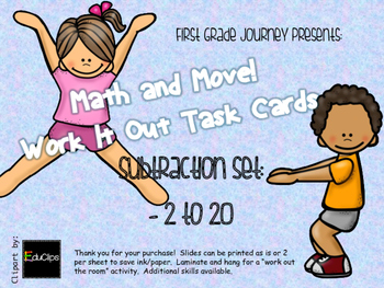 Math and Move! Exercise Task Cards Around the Room {Sub -2 to 20}