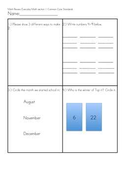 Math assessment for section 1 Everyday Math CC