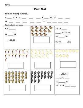 Math assessment to 25