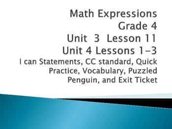 Math expressions unit 3 lesson 11 unit 4 lessons 1-4 grade 4
