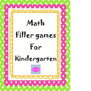 Math filler games for Kindergarten