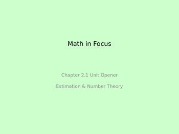 Math in Focus 4th Grade Unit 2 Opener