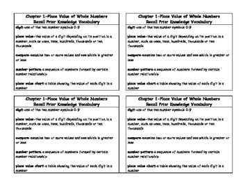 Math in Focus 4th Grade Vocabulary Card Chapter 1 Recall P