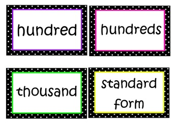 Math in Focus Chapter 1 Word Wall Words (Black & White Pol