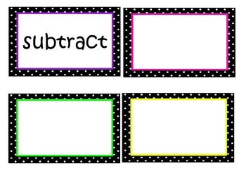 Math in Focus Chapter 3 Word Wall Words (Black & White Pol