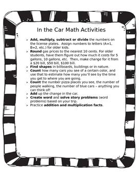 Math in the Car/ Actividades de matematicas in el auto (bl