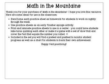 Math in the Mountains Basic Addition Fact Practice