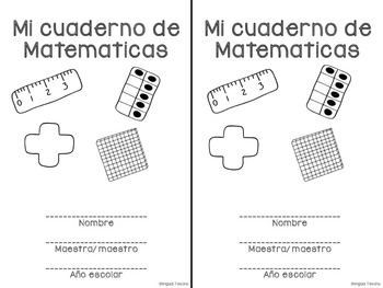 Math journal covers in Spanish