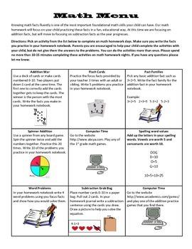 Math Homework Menu 2